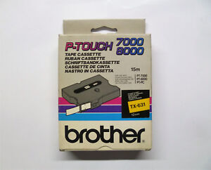 Brother Tape Cassette TX-631 Black On Yellow 0 15/32in 49 3/12ft PT-7000