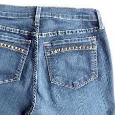 NYDJ Straight Leg Gold Studs Sz 6P Dark Denim Not Your Daughters Jeans New