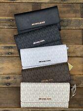 Michael Kors Jet Set Travel Large Trifold MK Wallet White Vanilla Brown Black