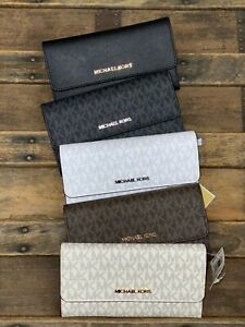 Michael Kors Jet Set Travel Large Trifold MK Wallet White Vanilla Brown Black