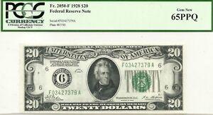 """1928 $20 ATLANTA GA FEDERAL RESERVE~- NUMERAL """"6"""" ~ PCGS GEM CRISP NEW 65 PPQ"""