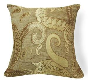Wd48a Gold Tan Paisley Damask Chenille Flower Throw Cushion Cover/Pillow Case
