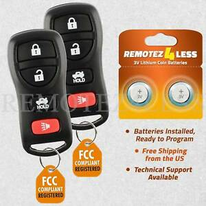 QINCHYE 2 Keyless Entry Remote Control Car Key Fob Fits for Nissan Maxima 2000-2003 for Nissan Altima 2000-2005 for Nissan Sentra 2000-2006 for Nissan Xterra 2002-2004 Buttons Replace NI04T