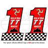 "ISLE of MAN TT Races Number 1 MANX Moto GP Bike-Helmet Decal Sticker 3""(75mm) x2"