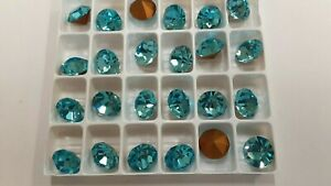 24 swarovski rhinestones,48ss(11mm)aquamarine,goldfoiled #1100