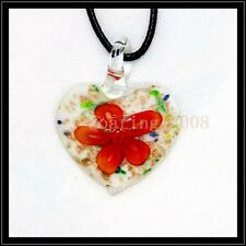2016 New heart lampwork Murano art glass beaded pendant necklace BB15