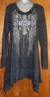 nwt VOCAL SHIRT tunic western BIKER WINGS CROSS rhinestone tatoo SM-3X BLING