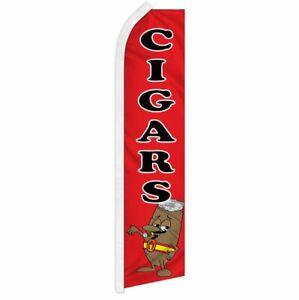 """CIGARS"" advertising super flag swooper banner business sign smoke cigarette"