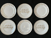 6 Ciroa Eat Drink & Give Thanks Salad Plates Gold White Metallic Fine Bone China