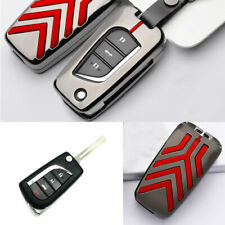 For 2018-up Toyota Camry Flip Blade Key Gun Gray Metal Key Cover w/ Red Line