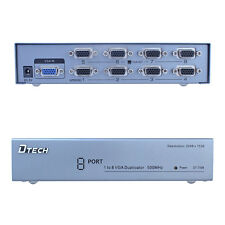 1 PC to 8 Port VGA Monitor Video Splitter Amplifier Box 8 Way Same Video 500MHz