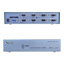 1 PC to 8 Port VGA Monitor Video Splitter Amplifier Box 8 Way Same Video 500MHz