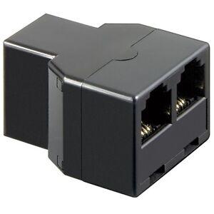 Netzwerk Telefon Adapter Verteiler Splitter Stecker 1x RJ11 auf 2x Buchse IN OUT