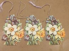 """#Lot of (3) VINTAGE TALLY SCORE CARDS """"Flowers"""" 3 x 4"""""""