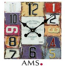 AMS 41 XL Wall Clock Quartz, Imprinted Glass Dial Quartz Watch 40 x 40 cm 514