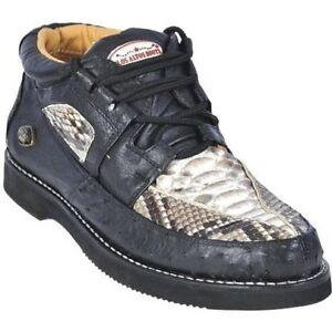Los Altos Genuine BLACK Python Snake Ostrich Casual Shoes Lace Up D