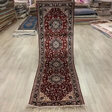 YILONG 2.5'x8' Red Hallway Silk Rug Runner Handknotted Stair Carpet WY424M