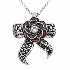 Rose Necklace Tentacle Bow Pendant w Swarovski Crystal Women Jewelry By Controse