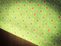 Shabby Chic Flowers on Green 100% Cotton Fabric. Price per 1/2 metre