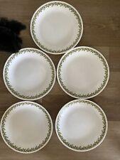 "Vintage Set of 5 CORELLE Green Crazy Daisy Spring Blossom Dinner Plates 10"""