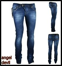 jeans pantaloni da donna elasticizzati vita bassa svasati dritti angel devil w29