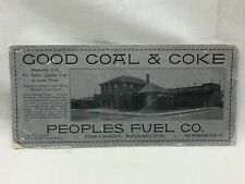 Vintage Advertising Ink Blotter Peoples Fuel Co. Good Coal & Coke 8 3/4