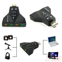 USB 2.0 Virtual 7.1 CH Channel 3D Audio Stereo Sound Card Adapter Mic