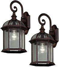 Outdoor Exterior Porch Wall Lantern Sconces Bronze Glass Shade Light Twin Pack