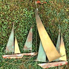 Vintage Mid Century Moder Wall Sculpture Curtis Jere Boat Brutalist Harbor Birds