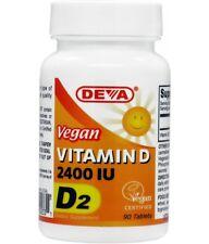 Vegan Vitamin D, D2 2400 IU 90 Tablets -  Deva Vegan