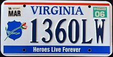 "VIRGINIA "" HEROES LIVE FOREVER - FALLEN OFFICERS "" VA Specialty License Plate"