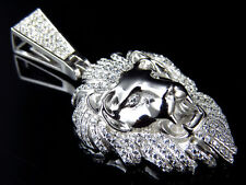 """Simulated Diamond Sterling Silver Lion Head Pendant in White Gold Finish (1.5"""")"""