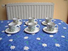 6 Tassen Kaffeetassen  mit Unterteller Midwinter Stonehenge Greenleaves England
