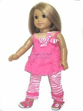 Doll Clothes Pink Top & Zebra Pants & Flower Sandals For 18 Inch American Girl