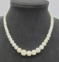Vintage Opalite Moonstone Graduated Glass Bead Choker Necklace 17""