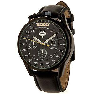 NEW Brillier 13.0201 Mens Buzz Chronograph 1960s Style Bullhead Dial Black Watch