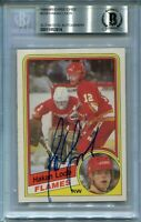 FLAMES HAKAN LOOB signed autographed 1984-85 OPC ROOKIE CARD RC BECKETT BAS