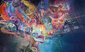 Colourful Abstract Thoughts Psychedelic Wall Art Large Framed Canvas Picture