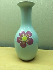 Simple Blue Vase Sakura Cherry Blossom Long Neck 6.5""