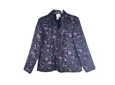 COLDWATER CREEK S Purples Textured Floral Blazer/Jacket Poly/Rayon 5 Button