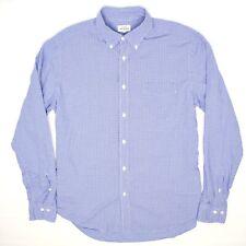 Hartford Alternative Classics Mens Shirt XL Blue White Check Seersucker Cotton
