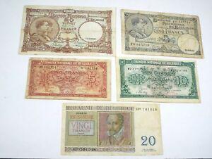 Lot of 5 - 1938 1943 1956 Belgium - 5 10 20 Francs Note Set