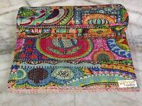 Indian Handmade Patchwork King Size Cotton Kantha Quilt Throw Vintage Blanket