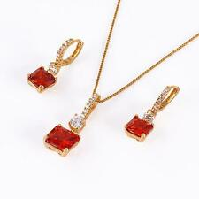 18k ct Gold Filled Red Stone Pendant Necklace + Earring Set  - 2 piece set