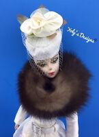 FITS Barbie Vintage,Silkstone,Reproduction Doll OOAK GENUINE MINK 8 Pc Dress Set