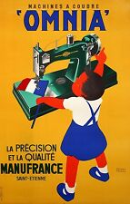 Original Vintage Poster Omnia Sewing Machine Co. 1950 French
