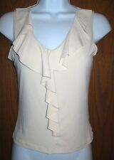 WOMANS  BEIGE SLEEVELES TOP  with RUFFLES by PIN in SIZE S