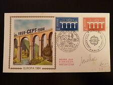 FRANCE PREMIER JOUR FDC YVERT  2309/10  EUROPA  LES PONTS   2,80+2F  PARIS  1984