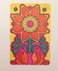 Miniature Vintage Retro 1960s Flower Pattern Swap Card