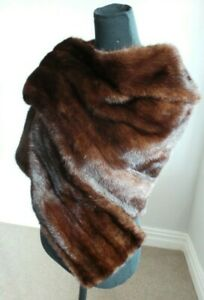 Mink Stole Cape Real Fur Wrap Scarf Shawl Bolero Jacket Party